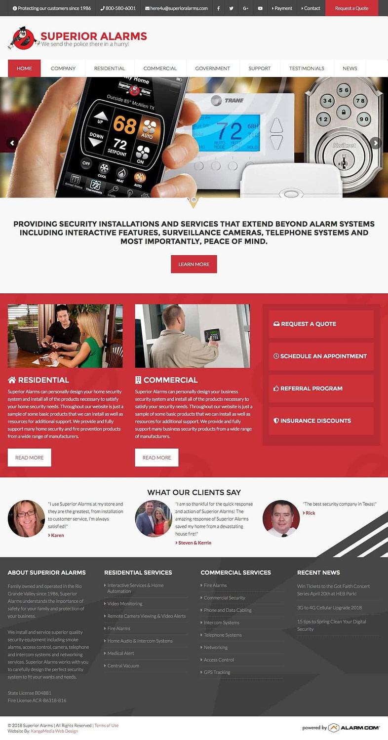 Alarm Company Web Design