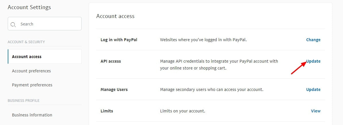 Account Settings PayPal