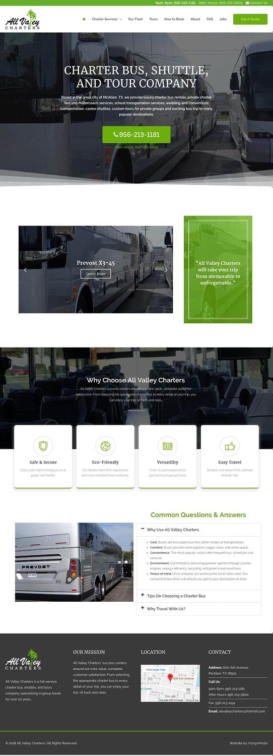 Charter Bus Web Design